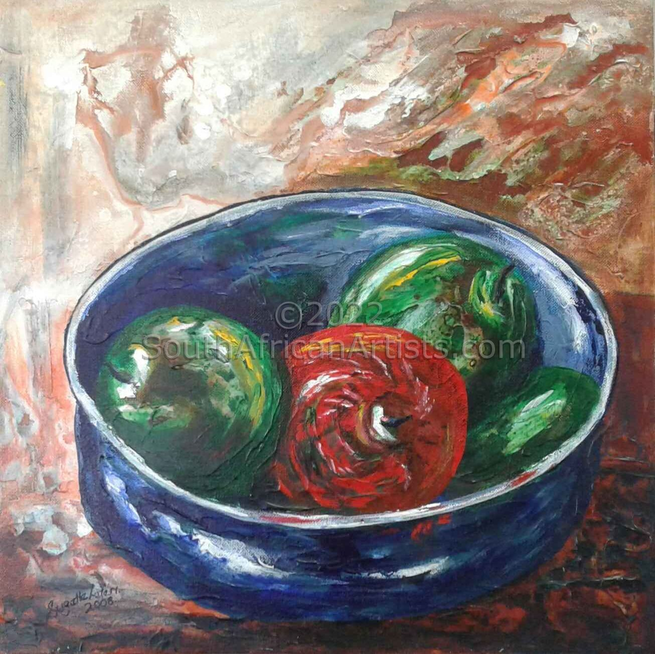 Red Apple in Blue Bowl