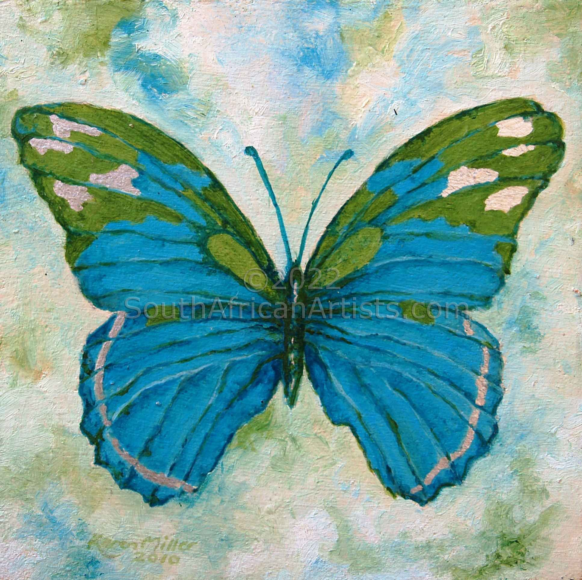 Butterfly Olive and Turquoise