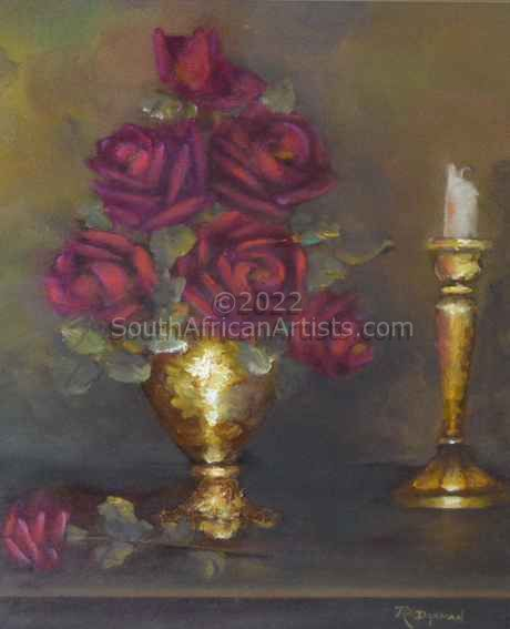 Red Roses with Candle