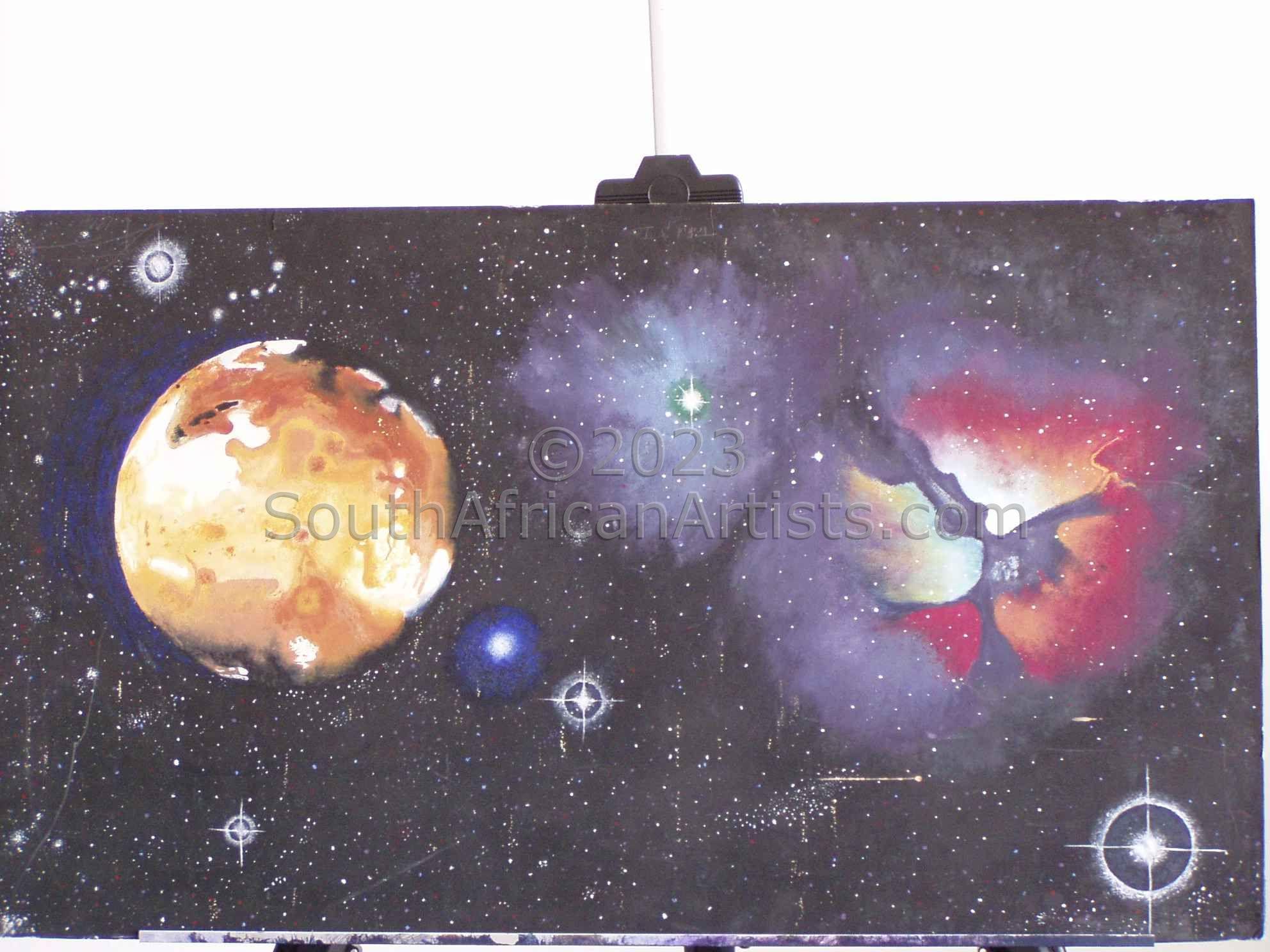 Triffid Nebula &Amp; Io Moon. Eg of How I Paint