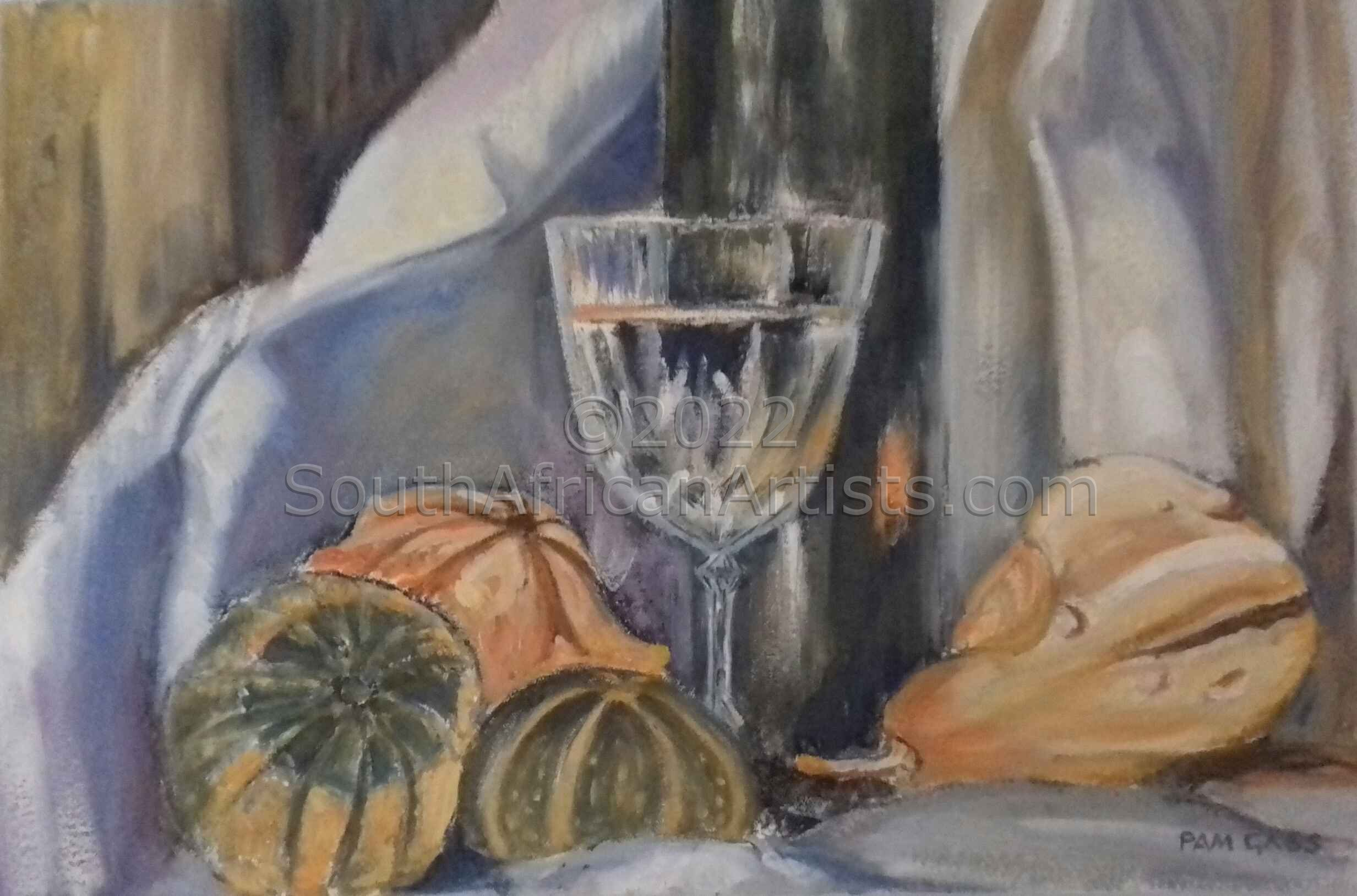 Wine Glass with Pumpkins