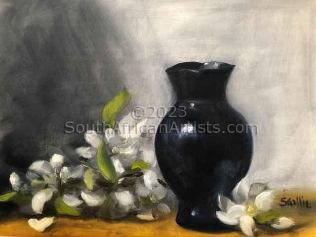 Spring Flowers and Black Vase