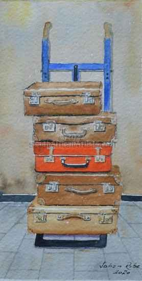 Old Suitcases on Trolley