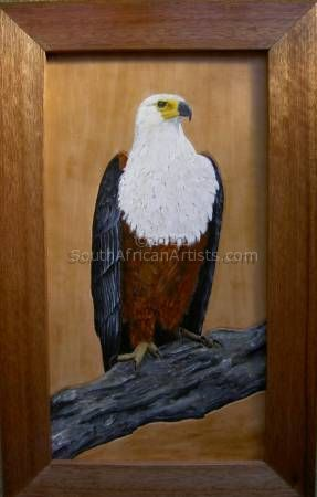 African Fish eagle on leather
