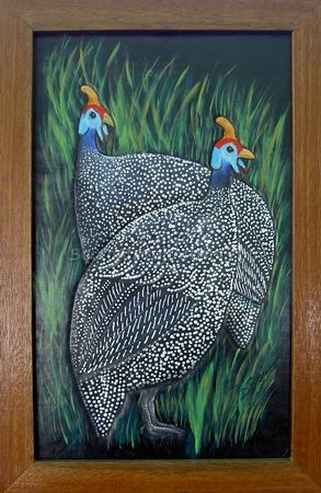 Two Guinea fowls on leather