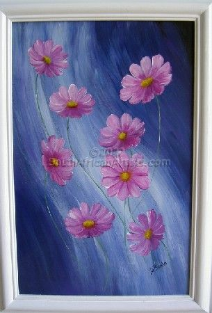 Cosmos flowers on leather