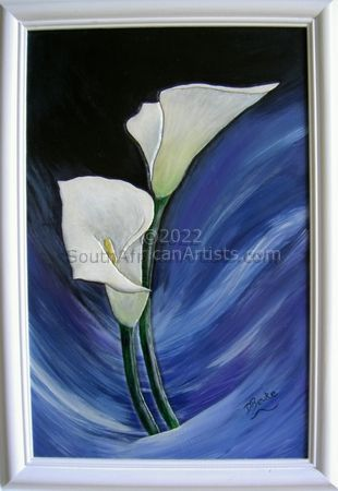 Arum Lilies on Leather