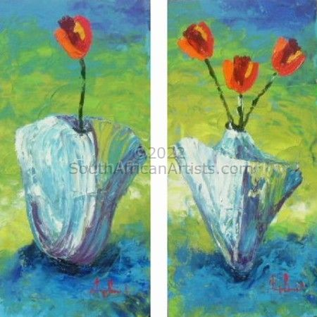 Blue Vases and Red Tulips