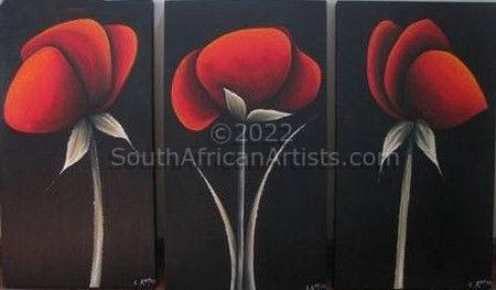 Red Poppies Triptych