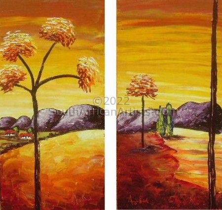 Ochre Landscape with red trees