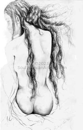 Nude in pencil, study