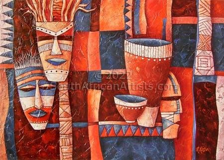 African Masks with Pots Painting