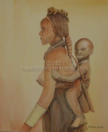 Himba Women With Child Kaokoveld