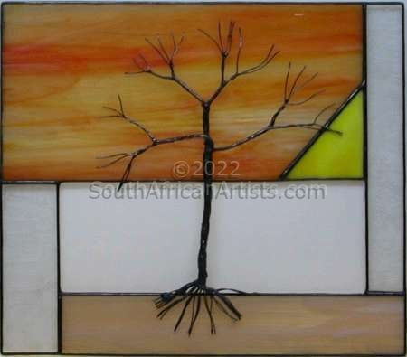 Stained glass wall hanging : Essential Nature series - Sunset