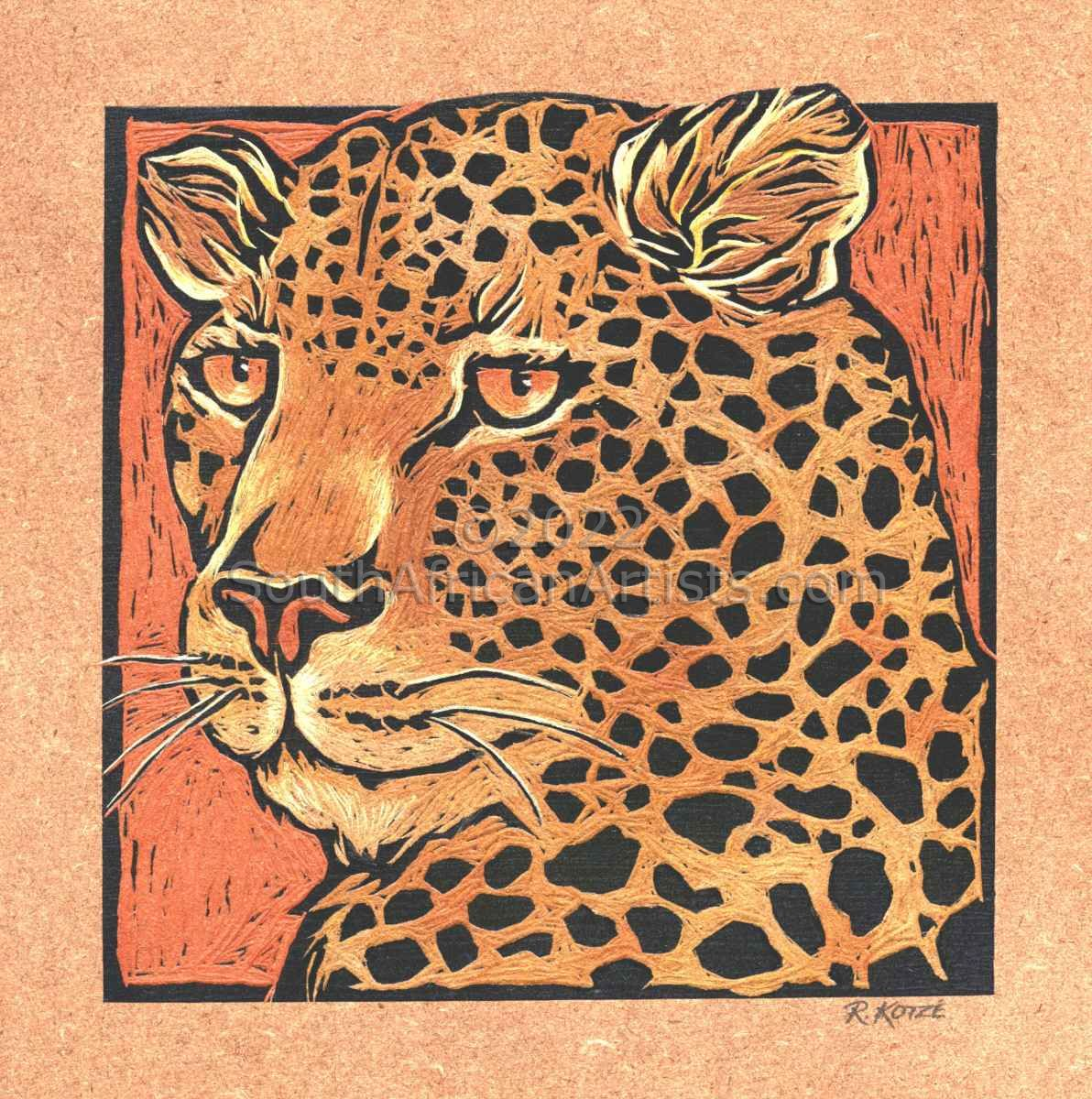 Leopard - Coloured & Incised Woodcut Block 1/1