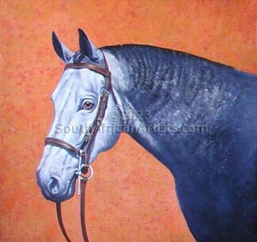 Horse on Orange Background