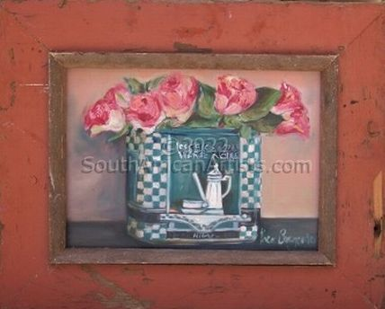 Roses in Blue Tin
