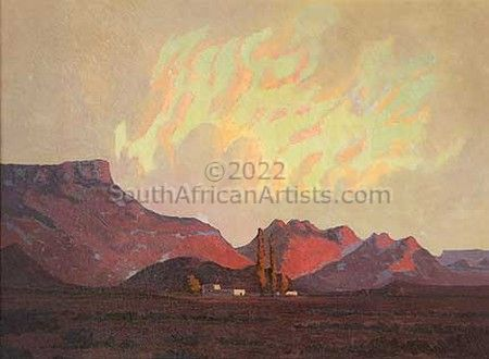 Karoo Landscape with buildings, tree