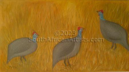 Guinea Fowls In Field