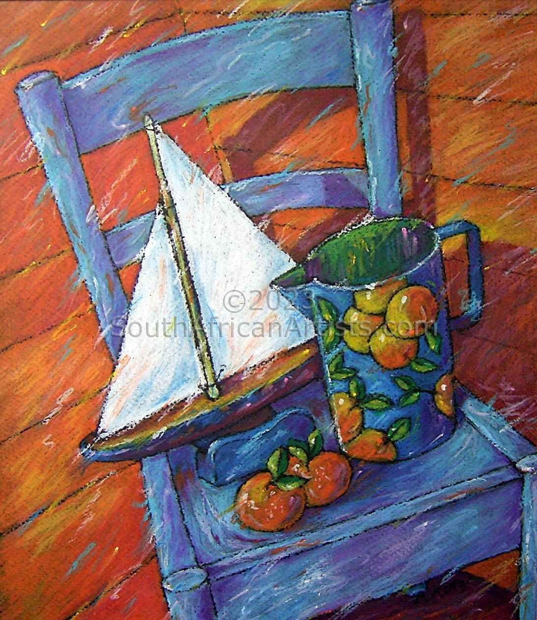 Blue Chair & Oranges Vivid Pastel