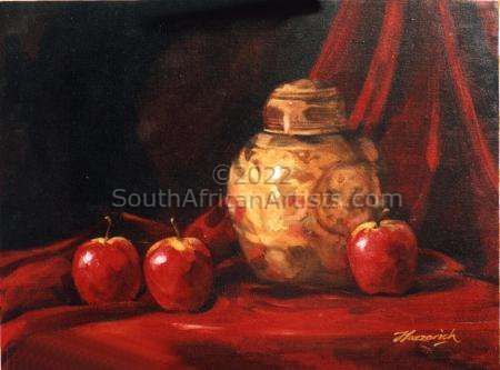 Chinese Jar and Red Apples