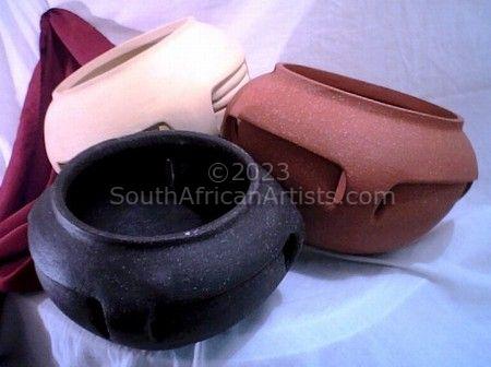3 Round Bottom Handmade Ceramic Pots