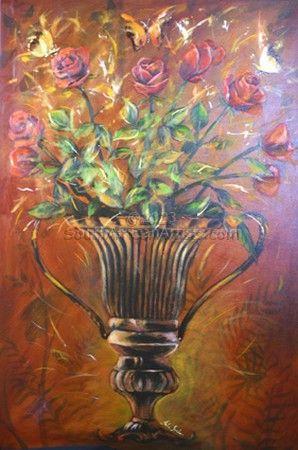 Roses in Copper Vase