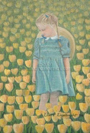 Girl Admiring Tulips