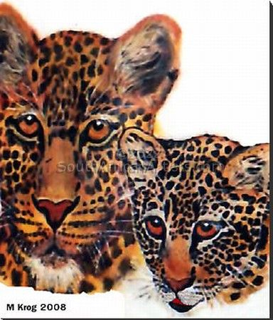 African Leopards in watercolour