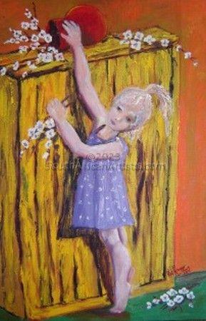 Girl Reaching for Fallen Flower Vase