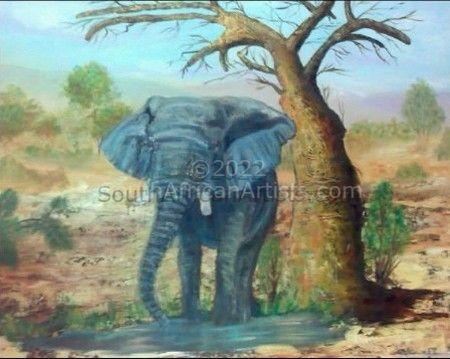 Elephant at a Water hole - Africa