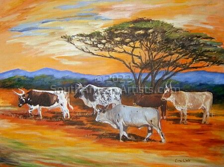 African Landscape with Nguni