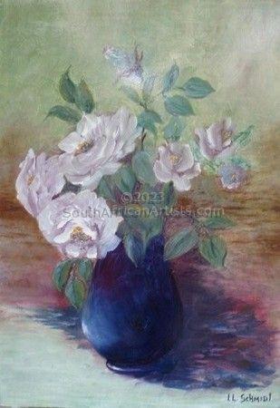 Lilac Roses in Ebony Vase