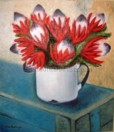 Still Life of Red Proteas