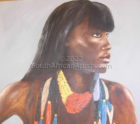 Woman with beads