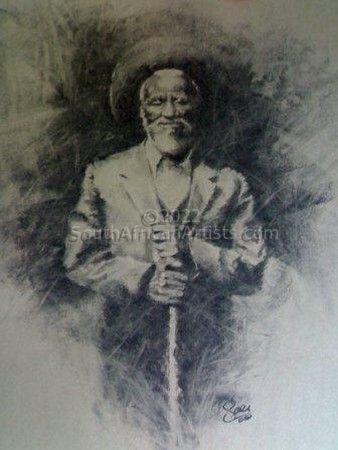 Old man in charcoal