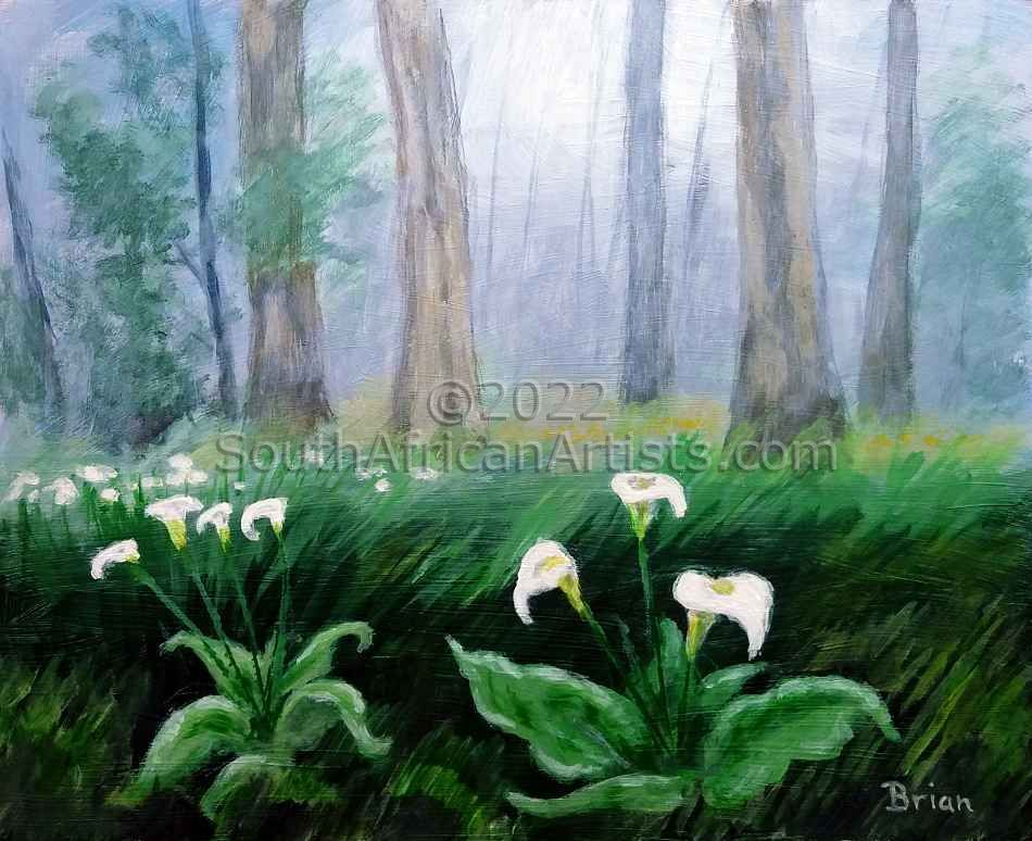 Arum Lilies in a Misty Forest
