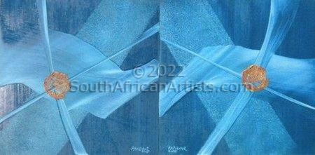 Blue Wrap Diptych