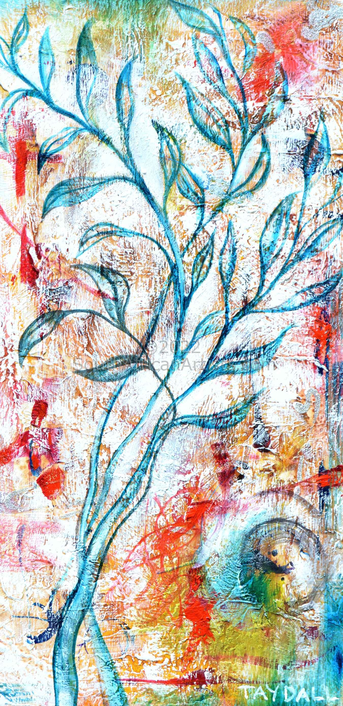 Flower Sketch on Wood 3 - 3239