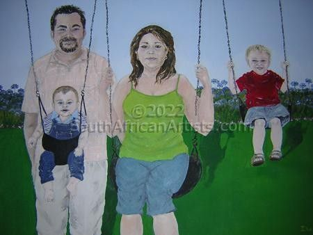 Family on Swings in Park