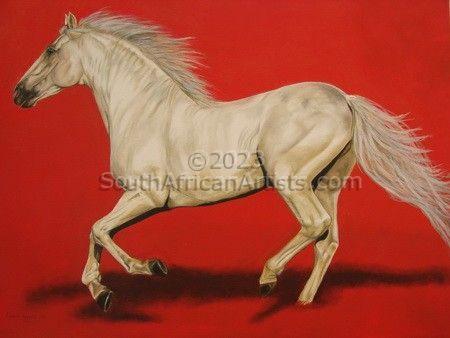 Galloping White Horse Through Red