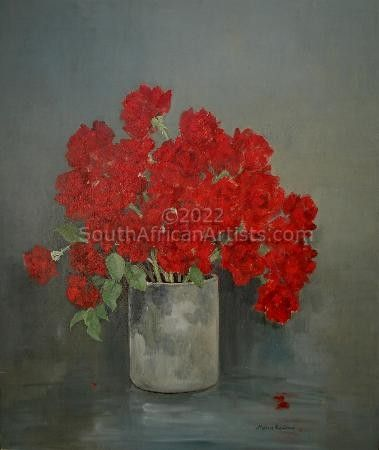 Red Roses in Cylinder Vase