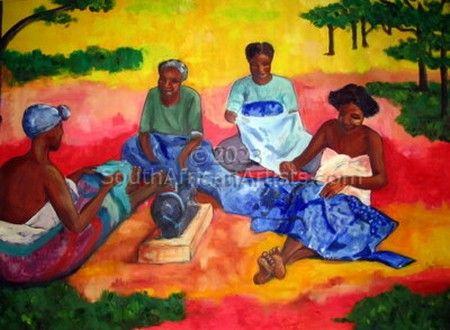 Madagascan women sewing