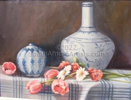 Delft Vases and Pink Tulips
