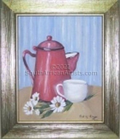 Red pot and daisies