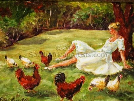 Lady in White With Chickens