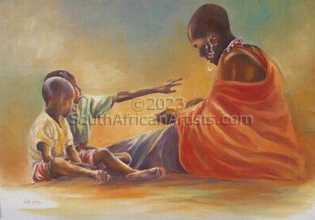 African Woman & Children