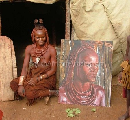 Mokaja with her painting