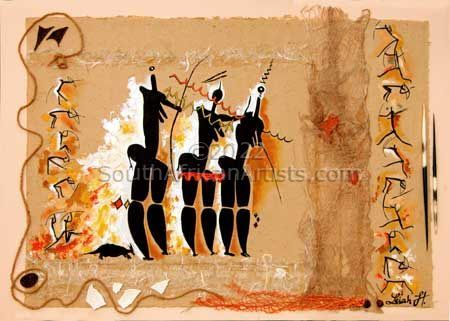 Bushman Painting Three Mothers Collage