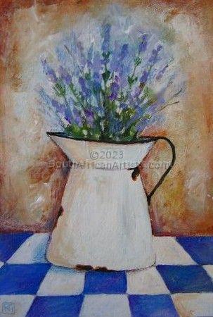 Lavender Flowers in an Enamel Jug